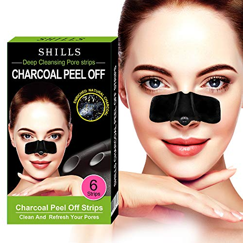 SHILLS Purifying Charcoal Pore Strips, Nose Pore Cleanser, 6 Count, Blackhead Remover, Deep Cleansing, Charcoal Peel Off Nasal Patch
