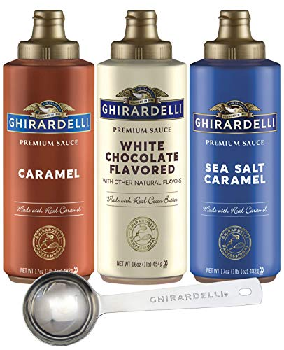 Ghirardelli - Sea Salt Caramel, White Chocolate and Caramel Flavored Sauce (Set of 3) with Ghirardelli Stamped Barista Spoon