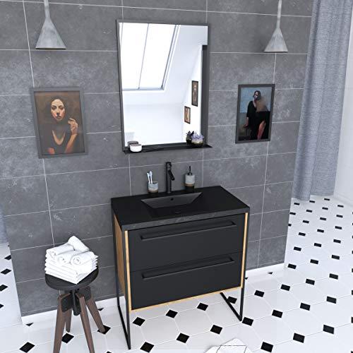Aurlane PACM095 - Mueble de baño, color negro y roble marrón