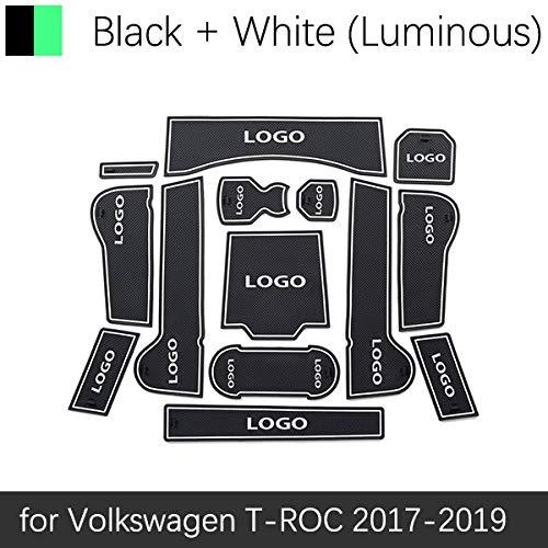 JXSMDNB Anti-slip rubberen poort sleuf cup mat deur moer mat coaster autoaccessoires. Volkswagen T ROC TROC T ROC 2017 2018 2019