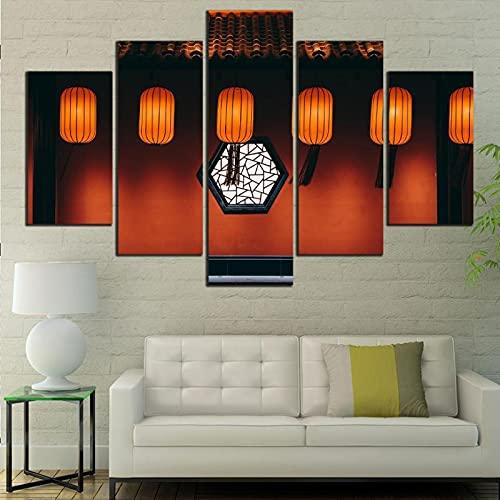 Rtewioucnmxcor Mural decoración impresión digital 5 placas pintura retro bambú lámpara cartel arte plantilla sala de estar regalo hogar