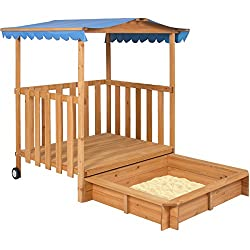 Playhouse fort with sandbox