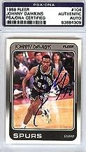 Johnny Dawkins Signed 1988 Fleer Card #104 San Antonio Spurs - PSA/DNA Authentication - NBA Basketball Trading Cards