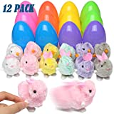 DIYASY 12 Pcs Eggs with Wind-Up Toys Bunnies and Chicken Fillers for Kids Party Favors and Basket Stuffers for Boys and Girls.