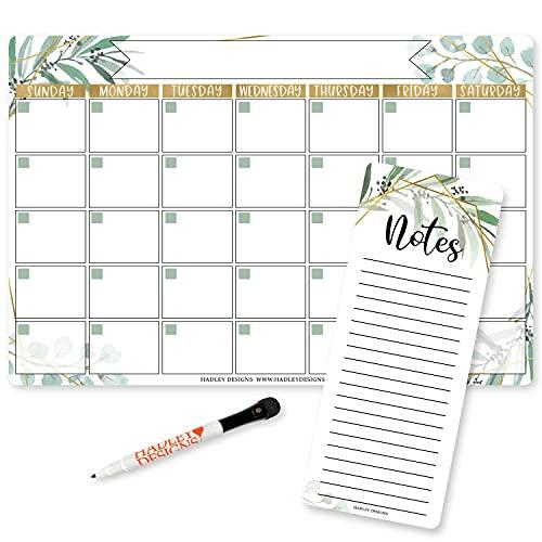 Magnetic Dry Erase Calendar for Fridge - Greenery Magnetic Fridge Calendar Dry Erase Magnetic Calendar for Refrigerator, White Board Calendar for Wall, Dry Erase Board Calendar, Magnetic Notepad