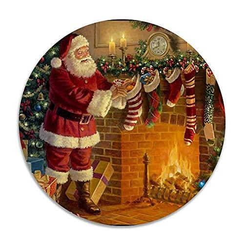 Weihnachtsmann Kamin Geschenkmuster Anti-Rutsch-Korallensamt Runde Teppiche Memory Foam Boden Teppiche Matten Durchmesser Schlafzimmer Teppich Yoga Stuhl Matte Fußmatte