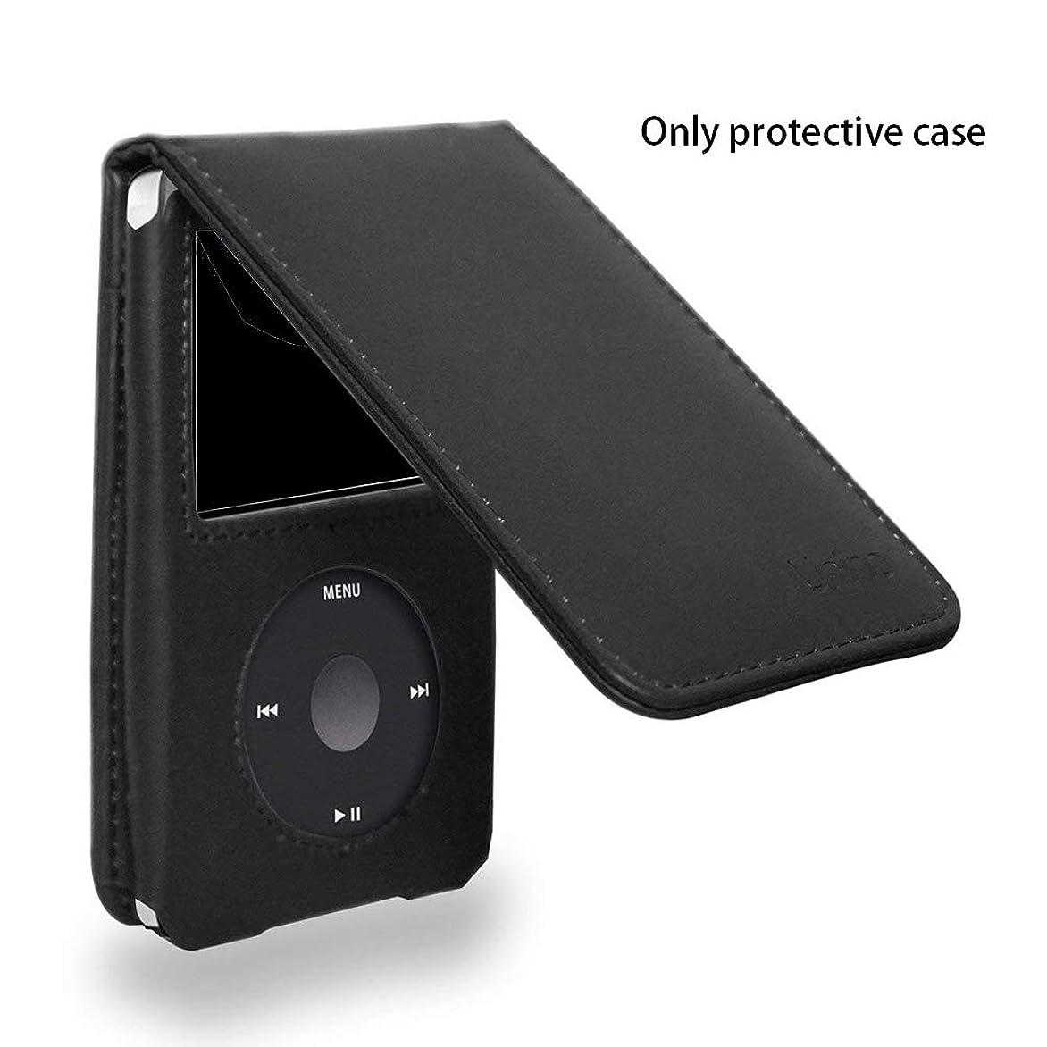 モートメディック食品for iPod Classic用ブラックPUレザーケースカバー、フルカバー保護ケース、アンチショック、取り外し可能クリップとスクリーンプロテクター付き。-For iPod Classic 160G、120G用(Black)