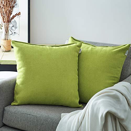 Topfinel Kissenbezüge Einfarbig Chenille Dekokissenhülle mit Verstecktem Reißverschluss für Sofa Auto Bett 2er Set 30x30 cm Farngrün