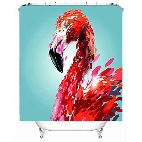 Ensemble De Rideau De Douche Décor Flamingo, Flamant 3D En Effet De Peinture Aquarelle Minimaliste Design Oeuvre Décorative,Accessoires De Salle De Bain, Rouge Vert