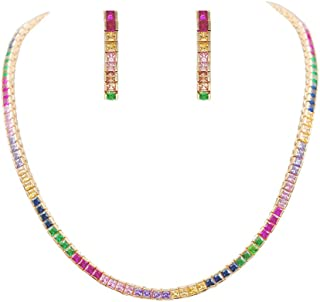 Lavencious Multi-Color Cubic Zirconia Princess Cut 4MM Tennis 16 Inch + 1 Inch Extended Length Necklace and Earrings 1.2 I...