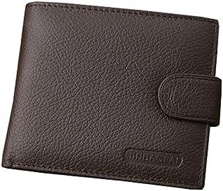 Genuine Cowhide Leather Men's Trifold Wallet Vintage Style Credit Card Holder Short Men Business Male Wallet Zipper Purse,...
