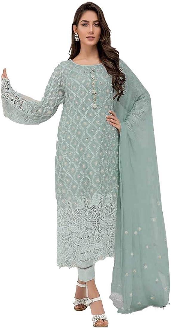 SHRI BALAJI SILK & COTTON SAREE EMPORIUM Indian Traditional Wear Women Georgette Straight Pant Suit Chifffon Dupatta 5172 A
