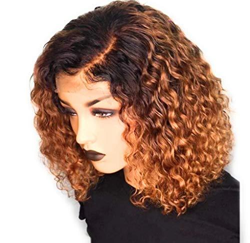 ZYC Bourgogne Rouge Ombre Court Perruques De Cheveux Humains Pré Plumée Bouclés Blonde Avant De Lacet Bob Perruque Partie Profonde Perruque Remy Brésilienne,Marron,12 inches