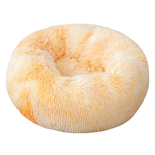 J Washable plush donut pet bed, warm bed for dogs and cats, orthopedic and sleep improvement, diameter 40cm-120cm, tie-dye four colors available