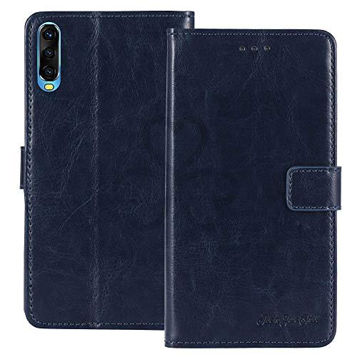 TienJueShi Azul Oscuro Retro Premium Función de Soporte Funda Caso Teléfono Case para Wiko View 4 Lite 6.52 Inch Carcasa Proteccion Cuero Cover Etui