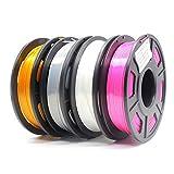 Amazon Brand-Eono Silk PLA Filamento para Impresora 3D, 1.75mm (±0.03mm), 1kg, Multicolor PLA Filamento