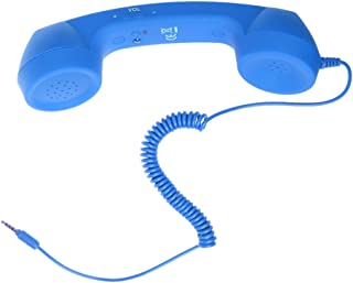 MagiDeal Retro Pop 3.5mm Jack Corded Handset Mobile Phone Handset for iPhone IPad PC Computer Tablet - Blue