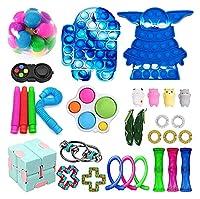 30パック感覚プッシュポップバブルフィジットおもちゃパックミニキーホルダーポップのおもちゃ男の子の自閉症のストレスリリーフと抗不安玩具の品揃え。 (Color : J)
