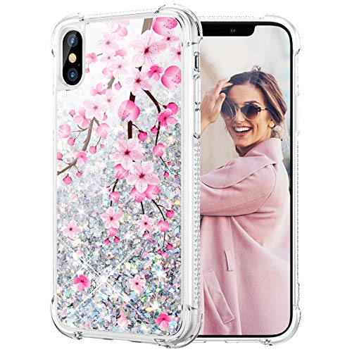 iPhone X Case, Caka iPhone Xs Glitter Case Liquid Series Girls Luxury Fashion Bling Flowing Liquid Floating Sparkle Glitter Cute Soft TPU Christmas Case for iPhone X XS (Moose)