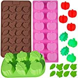 Amurgo 3 Pack Leaf Pumpkin Molds Pumpkin Fall Leaf Silicone Mold, Fall Leaf Shape Mold, Halloween Thanksgiving 3D Candy Chocolate Candle Soap Baking Tools