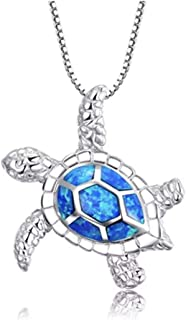Silver Necklace with Created Blue Fire Opal Sea Turtle Pendant