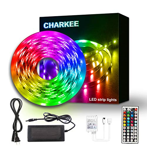 LED Strip Lights 25ft, CHARKEE LED Lights, RGB 5050 Color Changing Light with 44 Keys IR Remote and 12V Power Supply LED Light for Room, Bedroom, Kitchen, DIY Decoration, Non-Waterproof