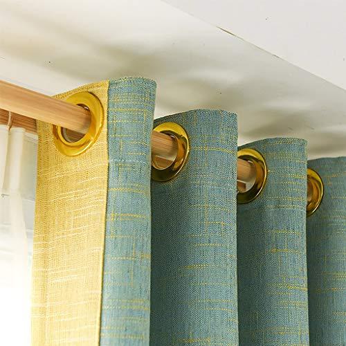 Duschvorhang Gardinen mit grün-gelben Nähten, Verdunkelungsvorhänge & wärmeisolierte Gardinen, Verdunkelungsvorhänge 106 Länge for das Wohnzimmer im Schlafzimmer (Size : 3m(W)×2.7m(H))