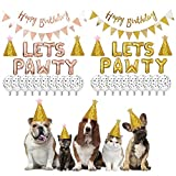Oro Pet Dog Cat Cappello di Compleanno con Un Foglio di Balloon Cat Footprints Palloncino Buon Compleanno Banner Cappello di Compleanno SetFor Partito