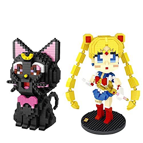 2 Unids / Set Bloques De Diamantes Sailor Moon Luna Bloques De Construcción Gato Negro Figura De Ladrillos LOZ Conjunto De Bloques De Juguete Regalo De Cumpleaños