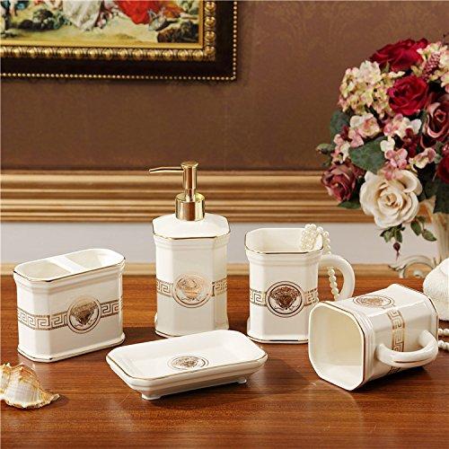 HJKY Badkameraccessoireset Euro verzorgingsproducten in de badkamer badkuip kit 5 Wc poetsen spoelen cup Bluetooth met keramisch toetsenbord opbergvak kits