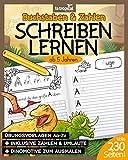 Buchstaben und Zahlen schreiben lernen ab 5 Jahren: Mein großes Dino-ABC + Zahlen lernen mit Dinosauriern von 1-10. Der große Übungsblock mit 230 Seiten für Kinder. BONUS: Viele Malbilder