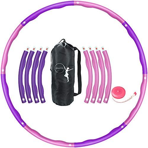 Oxsaytee Hula Hoop Reifen, 1.2KG Fitnesskreis Gewichtsverlust Schlankheits Kreis für Fitness-Training Erwachsene & Kinder, 8 Abnehmbare Hula-Hoop-Reifen mit Mini Bandmaß, Orange & Weiß