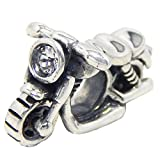 ICYROSE Solid 925 Sterling Silver Motorcycle with Clear Cubic Zirconia Headlight Charm Bead 500 for European Snake Chain Bracelets