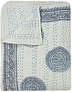 khushvin Handmade Quilt, Floral Quilt, Jaipuri Razai, Indian Hand Block Print Quilt, Cotton Quilt, Winter Quilts, King Quilts