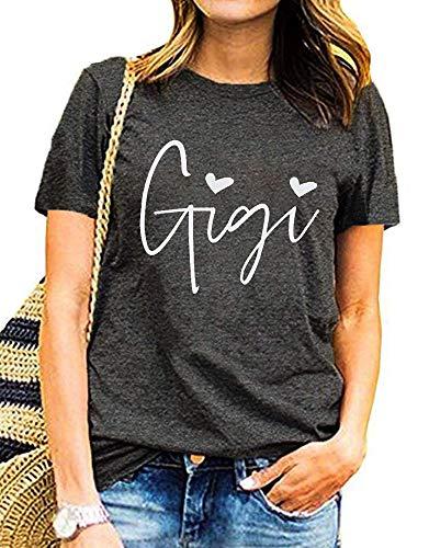 Gigi Shirt for Grandma Women Funny Cute Heart Graphic Tees Shirt Letter Printed Short Sleeve Mimi...