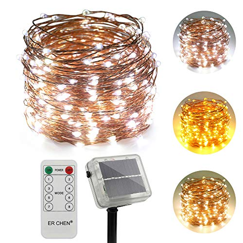 ErChen Dual-Color Solar Powered LED String Lights, 100FT 300 LEDs Remote Control Color Changing 8 Modes Copper Wire Decorative Fairy Lights for Outdoor Garden Patio (Warm White, White)