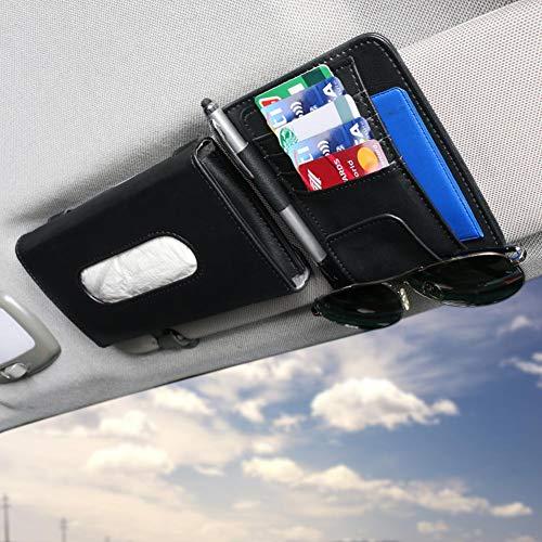 Luxury Car Tissue Holder with Car Visor Organizor, Auto Interior Accessories Set, Sun Visor Tissue Holder with Pocket Organizor, Car Napkin Box for Car Truck SUV Vehicle (Black)