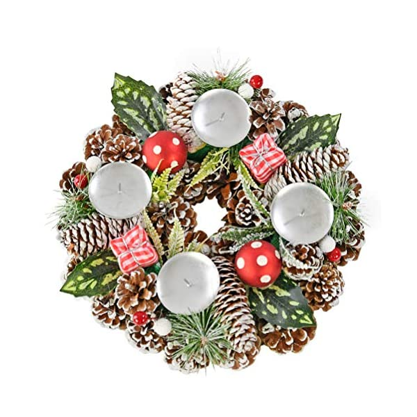 "Home-X Gingham Pinecone Christmas Wreath Candle Holder, Artificial Advent Wreath, Winter Home Decorations, (11"" Diameter)"