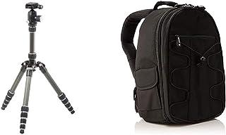 Amazon Basics Treppiede in Fibra di Carbonio da Viaggio, 132 cm & Zaino per fotocamera SLR + accessori, colore: Nero
