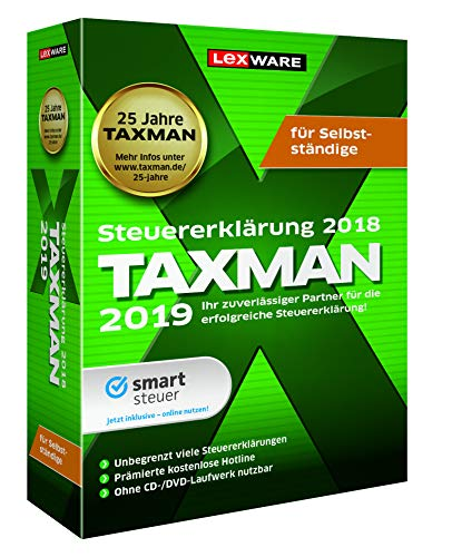 Lexware Taxman 2019 für das Steuerjahr 2018|Minibox|Übersichtliche Steuererklärungs-Software für Selbstständige, Gründer und Unternehmer