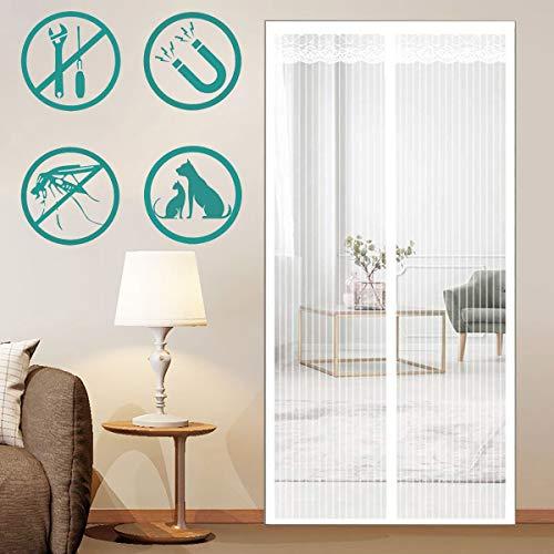 LOGO Mosquitera Puerta Magnetica 150x200cm(59x79inch) Tejido Súper Fino Pasar El Aire Cortina Protección para Puertas de Salón, Balcón, Corredor, Blanco