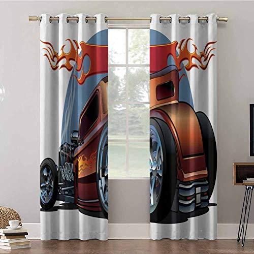 Aishare Store Cortinas opacas, 52 x 108 con aislamiento térmico con ojales, diseño de dibujos animados Hot Rod antiguo, motor americano clásico, cortinas de oscurecimiento para habitación (2 paneles)