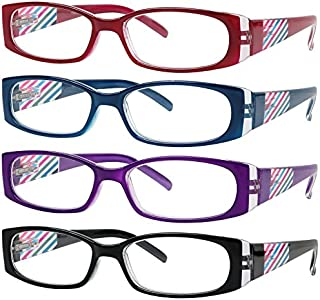 READING GLASSES 4 Pack Quality Stylish Designed Womens Glasses for Reading