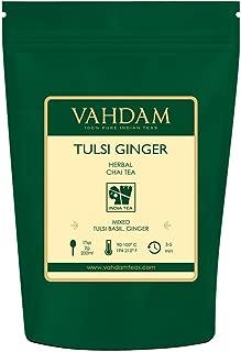 VAHDAM, Tulsi Ginger Herbal Tea (50 Cups) | STRESS RELIEVING & REFRESHING | Masala Chai Tea | Delicious Blend Of Ginger Tea & Tulsi Tea | Spiced Chai Tea Loose Leaf | Brew As Hot or Iced Tea | 3.53oz