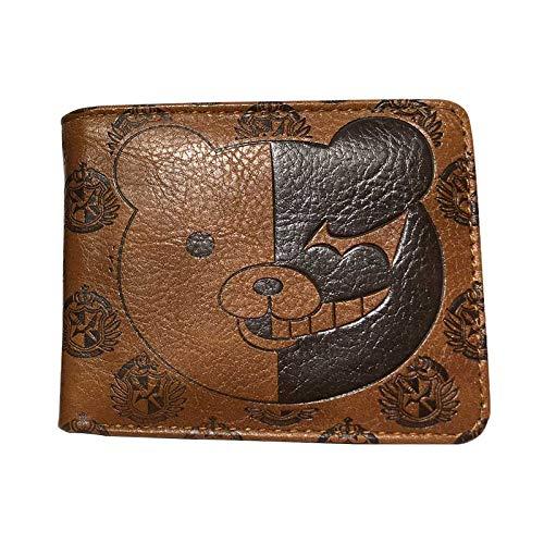 Cartera Cute Bear Danganronpa Monokuma Billetera Monedero De Cuero Repujado Billeteras Cortas con Tarjetero De Identificación Bolsillo para Monedas