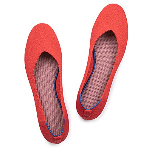 Frank Mully Women's Ballet Flat Shoes Knit Dress Shoes Round Toe Slip On Ballerina Walking Flats Shoes for Woman Low Wedge Comfort Soft Bright Red