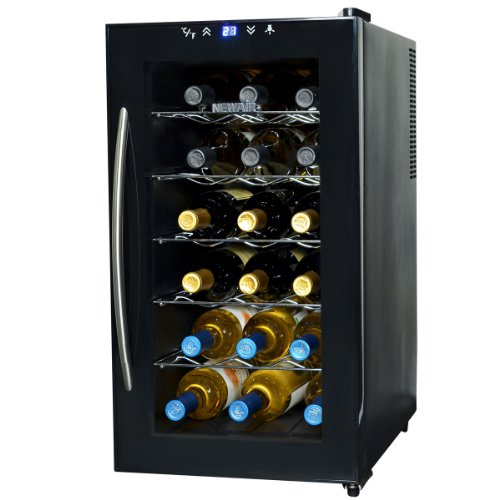 NewAir AW-180E Space Saver 18 Bottle Thermoelectric Wine Cooler, Black