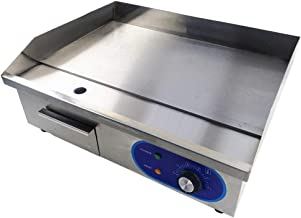 TAIMIKO Commercial Electric Griddle Flat Top Grill HotPlate Kitchen Grill CounterTop Stainless Steel Thermostatic Control 1500W 22
