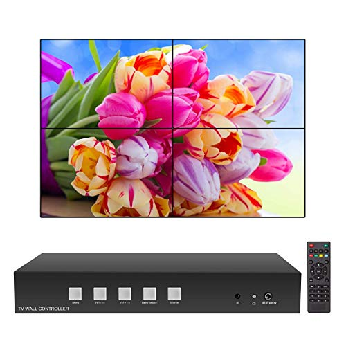 Video Wall Controller HDMI USB 2x2 Video Processor (Supports 1x2 1x3 2x1 3x1 4x1) 180 Degree Rotate LED/LCD Image Processor Screen Splicing M04