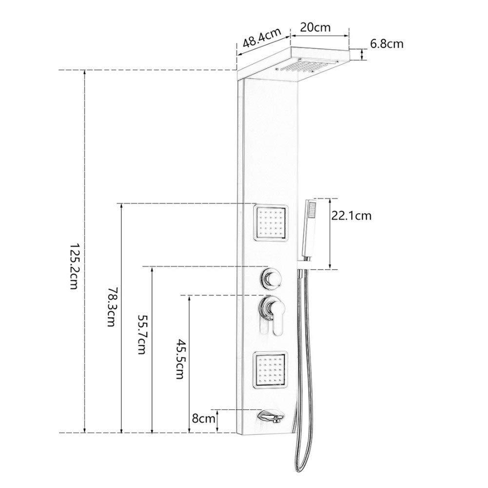 EODUDO-Home Improvement Accesorios de Ducha de baño Mampara de Ducha de Agua Caliente de Acero Inoxidable Negro (Bath & Shower Faucet Type : Shower Panels): Amazon.es: Hogar